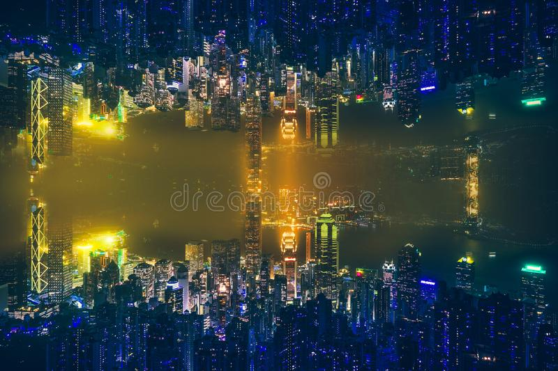 Hong Kong Victoria Harbor day and night. Hong Kong Victoria Harbor, photo token with Canon 5D mark III stock images