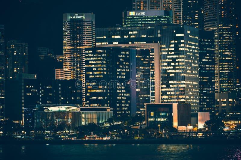 Hong Kong Victoria Harbor day and night. Hong Kong Victoria Harbor, photo token with Canon 5D mark III stock photo