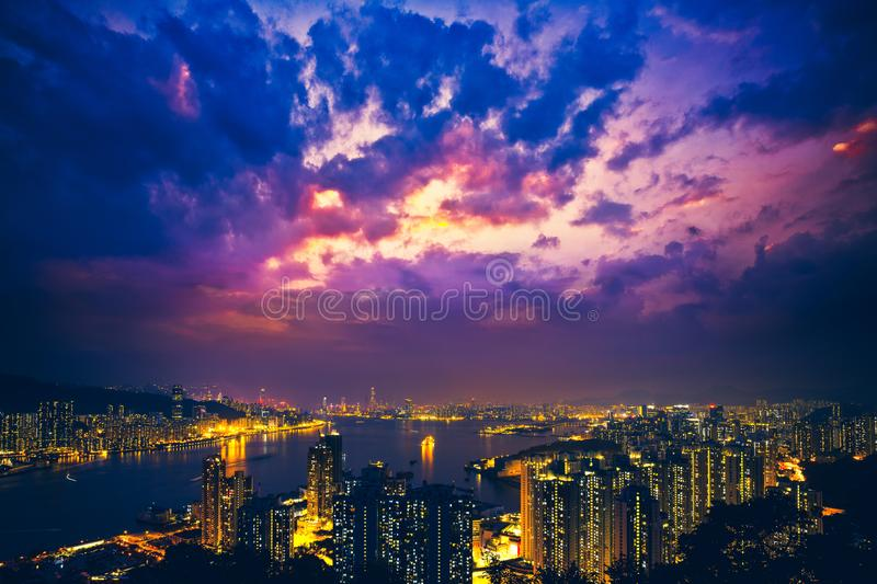 Hong Kong Victoria Harbor day and night. Hong Kong Victoria Harbor, photo token with Canon 5D mark III royalty free stock images