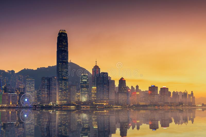 Hong Kong Victoria harbor view point and reflection of skyscrapers building.  stock image