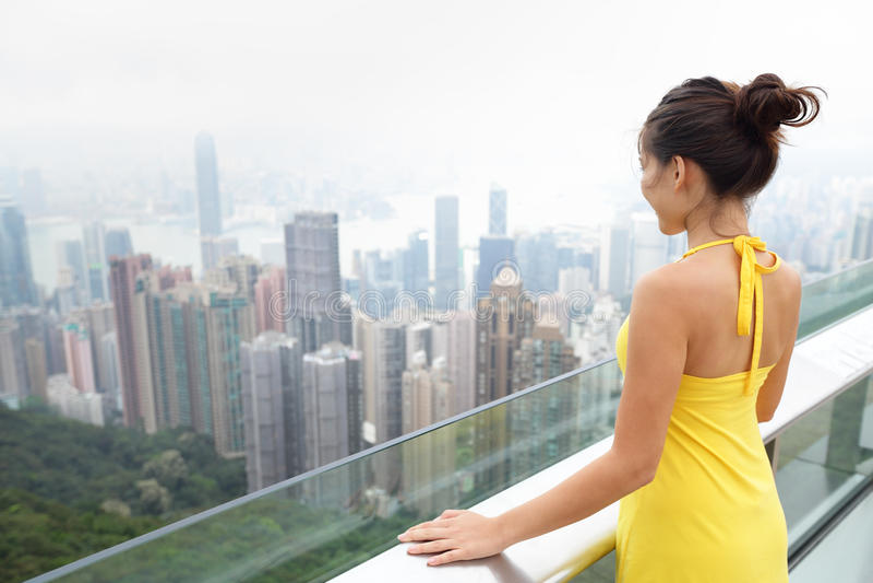 Hong Kong Victoria Peak Asian turistkvinna arkivfoton
