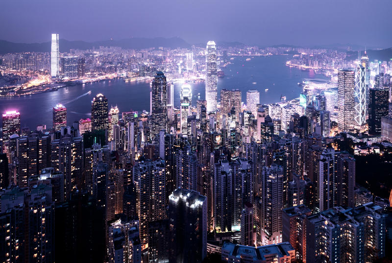 Hong kong from Victoria peak royalty free stock photography