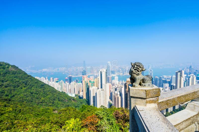 Hong Kong, view of the city and the bay from Victoria Peak stock image