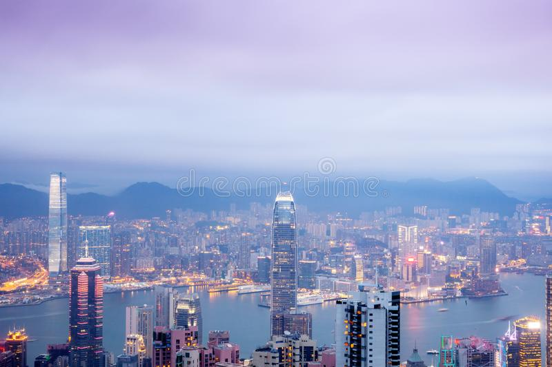 Hong Kong, view of the night city and the strait from the peak of Victoria, a beautiful stunning cityscape royalty free stock photography