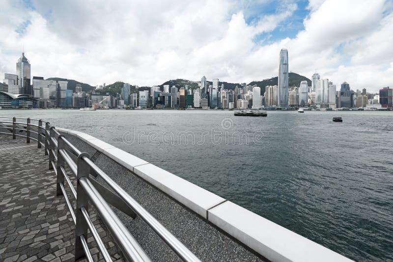 Hong Kong view of Victoria Harbor. Hong Kong Island business district royalty free stock photos