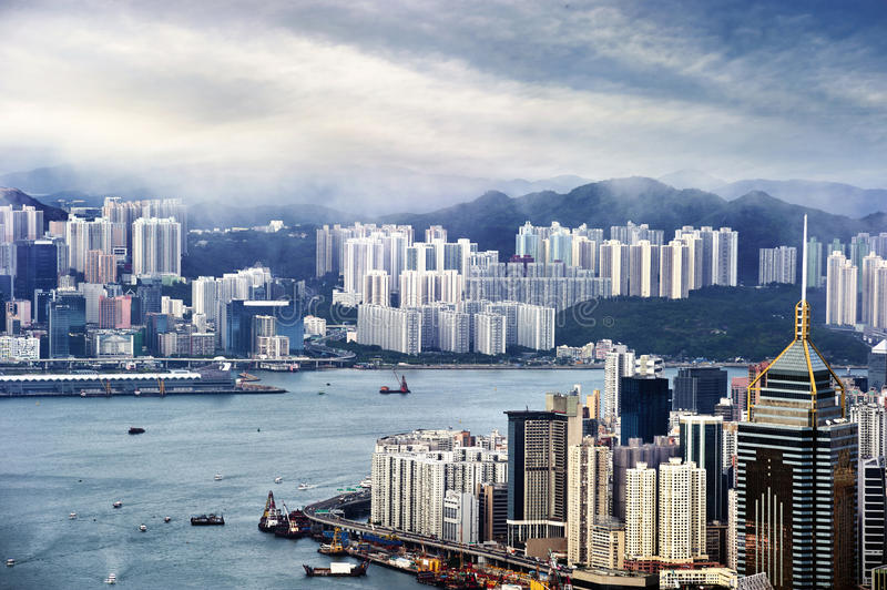 Hong Kong view of Victoria Harbor. Hong Kong Island business district stock images