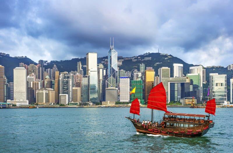 Hong Kong view of Victoria Harbor,. Hong Kong Island business district royalty free stock images