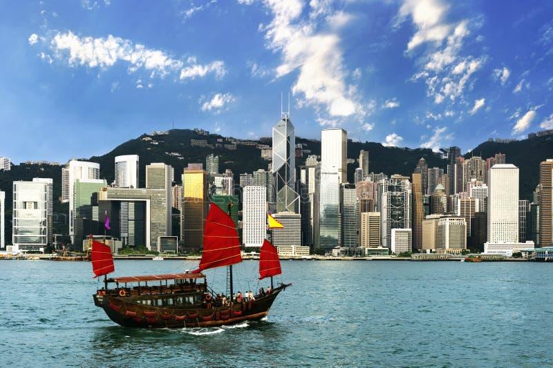 Hong Kong view of Victoria Harbor. Hong Kong Island business district royalty free stock image
