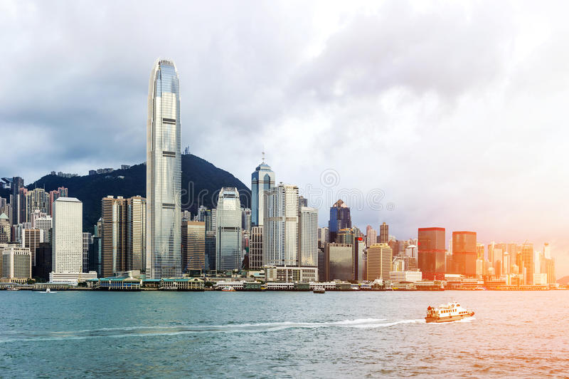 Hong Kong view of Victoria Harbor,. Hong Kong Island business district royalty free stock photos