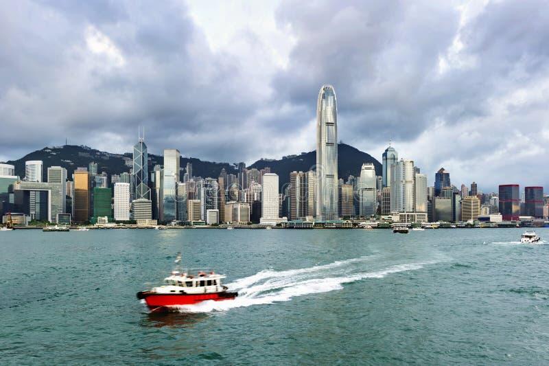 Hong Kong view of Victoria Harbor,. Hong Kong Island business district stock image