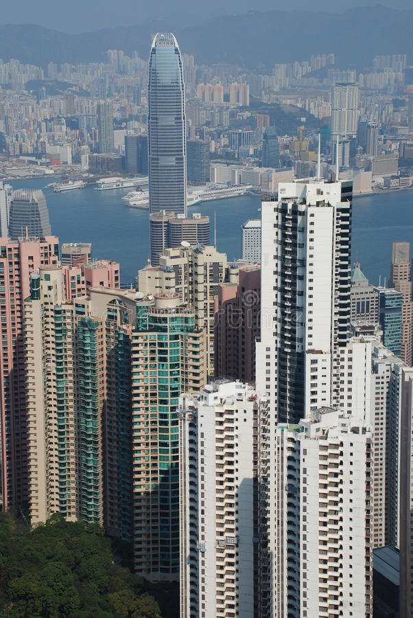 Hong Kong view from Victoria Peak royalty free stock photography
