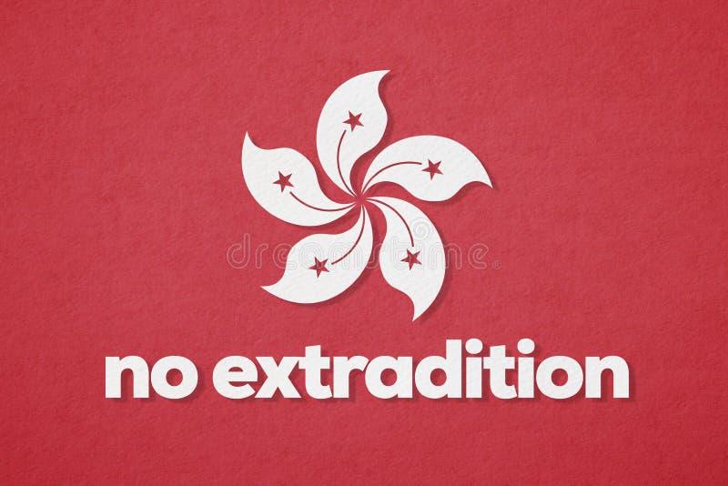 Hong Kong-vlag en Geen Chinese Uitleveringswet stock foto's