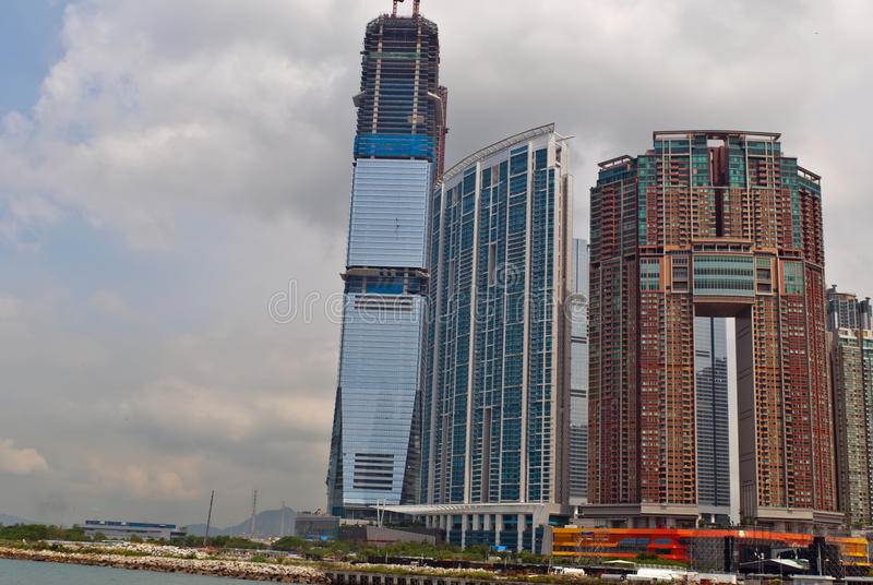 Hong Kong, West Kawloon new skyscrapers. Development of a skyscraper wich is postitioned on the oposite side of the IFC tower on Kowloon, Hong Kong royalty free stock photos