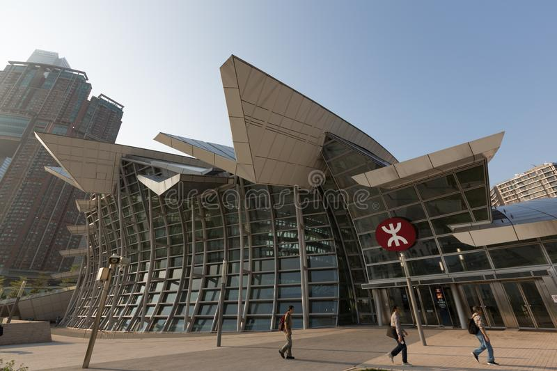 Hong Kong West Kowloon Station. In West Kowloon, Hong Kong. It is the terminus of the Hong Kong section of the Guangzhou–Shenzhen–Hong Kong stock photography