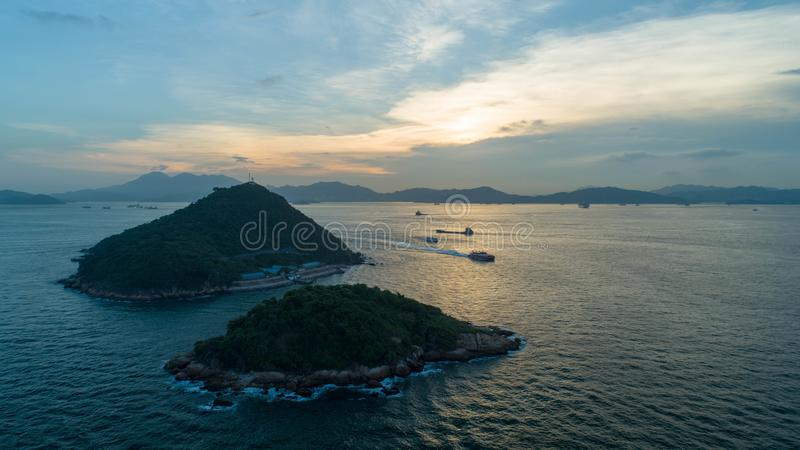 Hong Kong, West Wharf, aerial photography, looking to Green Island stock images
