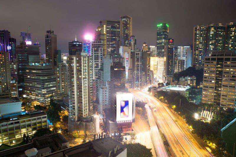 Hong-Kong-01 12 2017: Widok Hong Kong przy nighttime zdjęcie stock