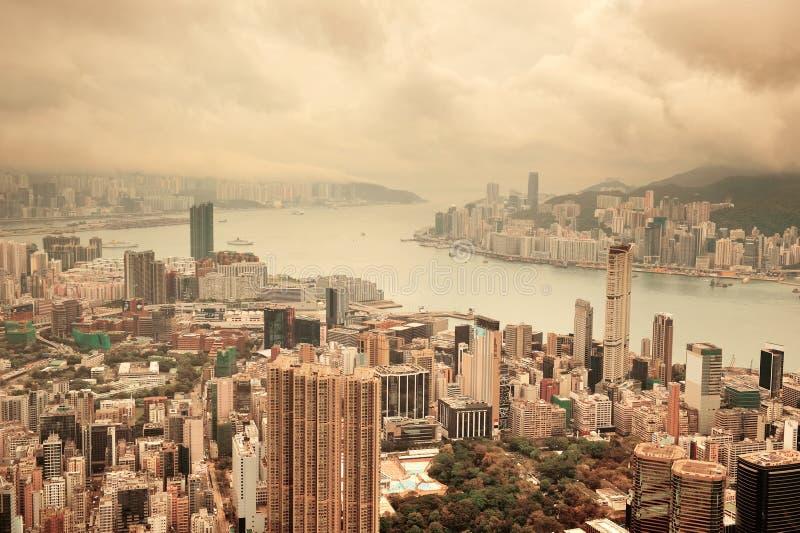 Hong Kong widok z lotu ptaka obrazy royalty free