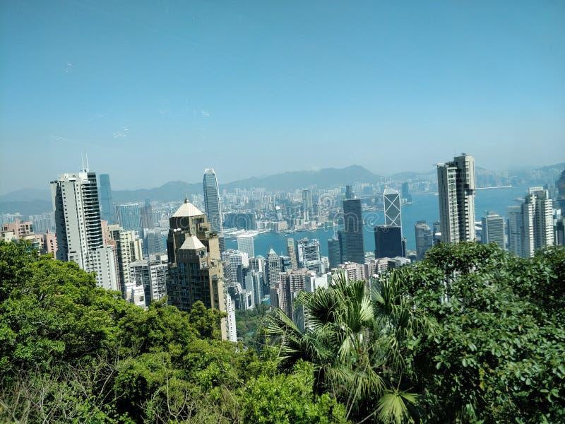 Hong Kong-wolkenkrabbersmeningen van Victoria Peak stock afbeeldingen