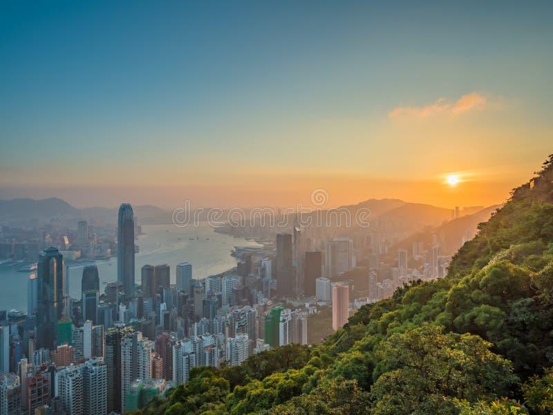 Hong Kong wschodu słońca widok fotografia royalty free