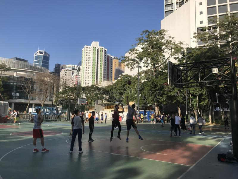 Hong Kong Youngsters Playing Basketball royalty free stock images