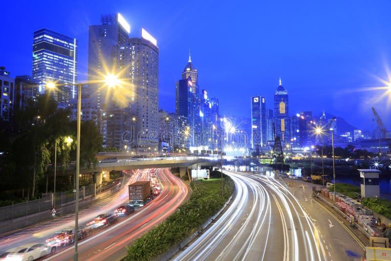 Hong- Kongdammbuchtnachtsichtgerät stockfoto