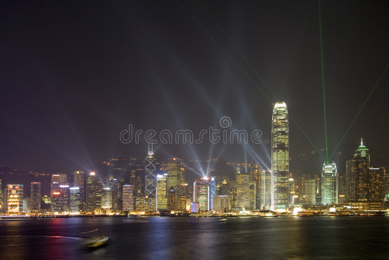 Hong- KongSkyline nachts stockfotos