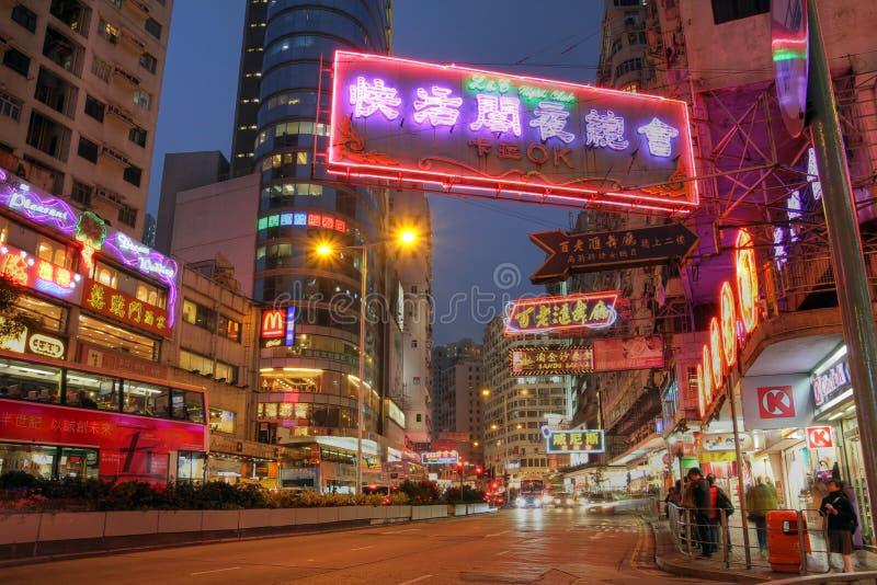 Hong- Kongstraße nachts, China stockfotos