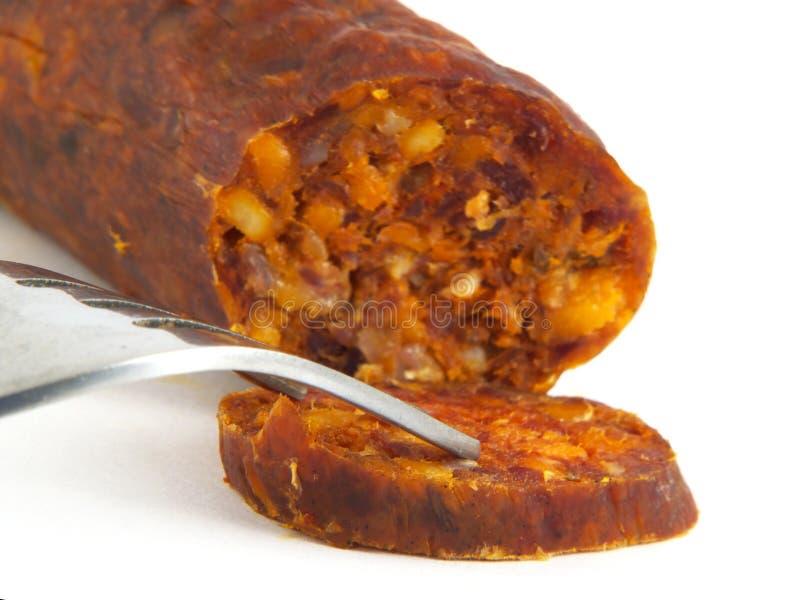 Hongaarse, eigengemaakte worst (salami) close-up stock foto's