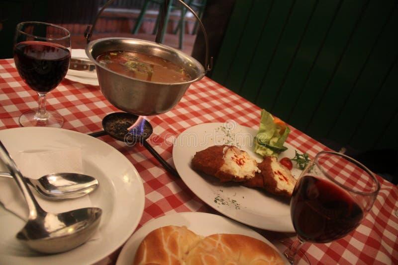 Hongaarse keuken en wijn stock foto