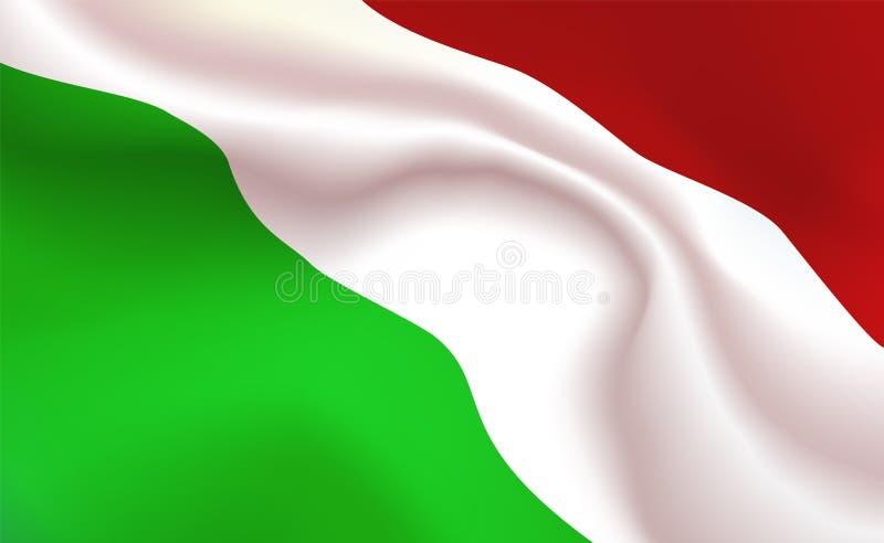 Hongaarse Vlag als achtergrond in vouwen Tricolour banner van Hongarije Wimpel met strepen omhoog dichte, standaard Gecentralisee vector illustratie