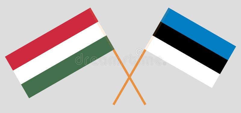 Hongarije en Estland De Hongaarse en Estlandse vlaggen Officiële kleuren Correct aandeel Vector vector illustratie