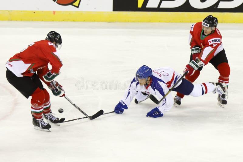 Hongarije versus van het de Wereldkampioenschap van Korea IIHF het ijshockeygelijke stock afbeelding