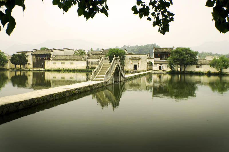 Hongcun, ancient village in china, moon bridge stock images