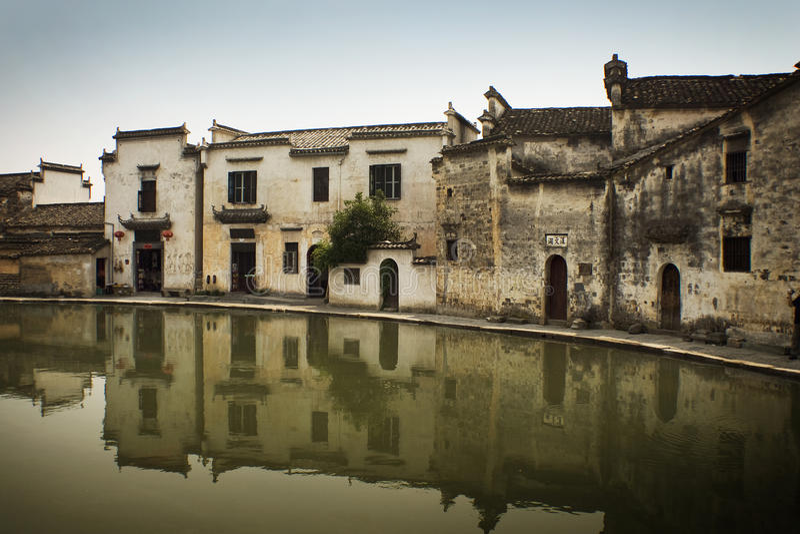 Hongcun village, famous moon pool, water reflectio royalty free stock photo