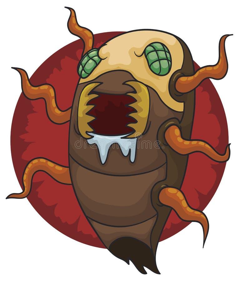 Honger Vreemde Insectoid met Tentakels en Dreigende Kaken, Vectorillustratie royalty-vrije illustratie