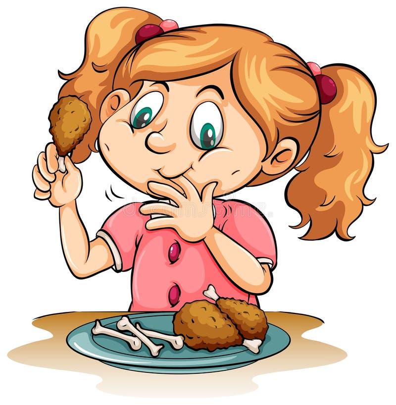 Hongerig meisje die kip eten royalty-vrije illustratie
