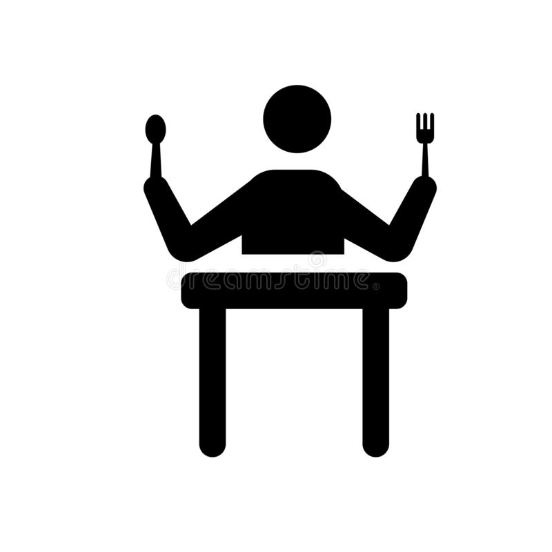 hongerig menselijk pictogram In hongerig menselijk embleemconcept op witte bac stock illustratie