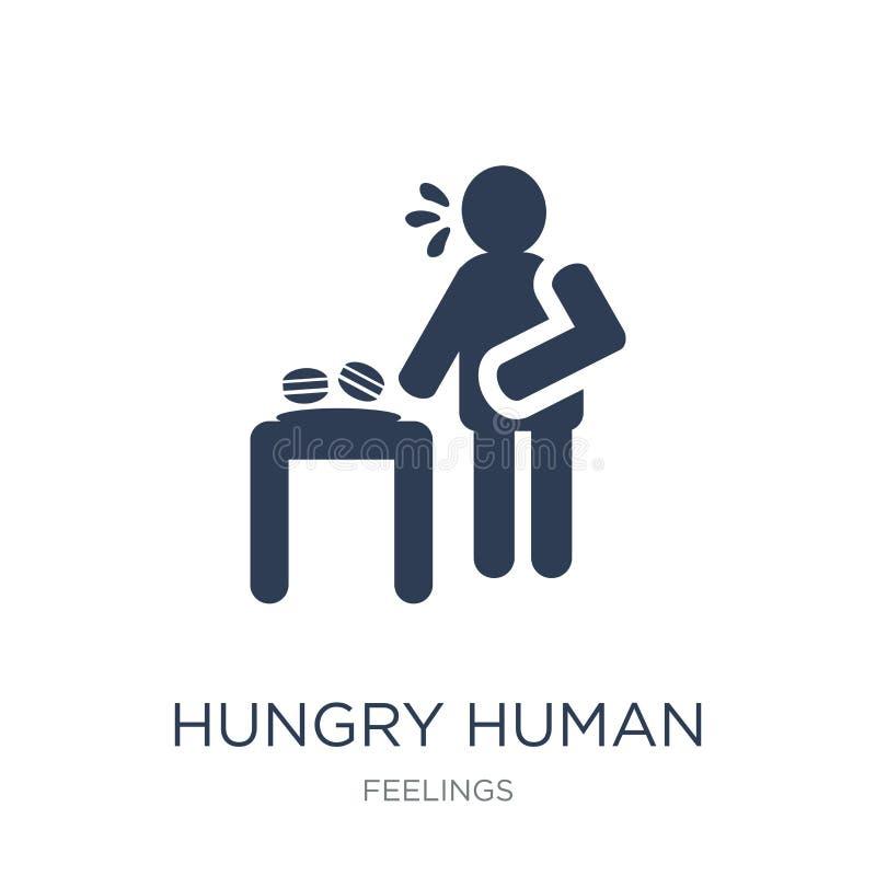 hongerig menselijk pictogram In vlak vector hongerig menselijk pictogram op wit stock illustratie