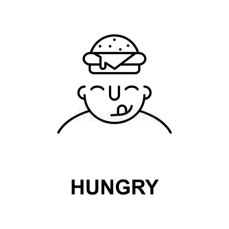 hongerig op meningspictogram Element van menselijk meningspictogram voor mobiel concept en Web apps De dunne lijn hongerig op men vector illustratie