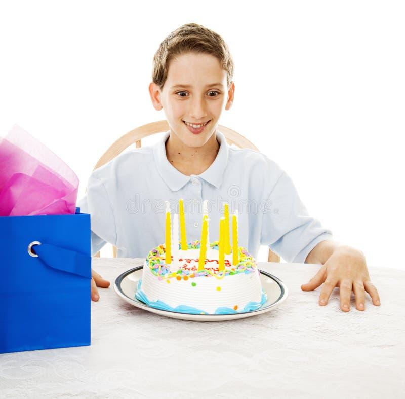 Hongerig voor de Cake van de Verjaardag stock fotografie