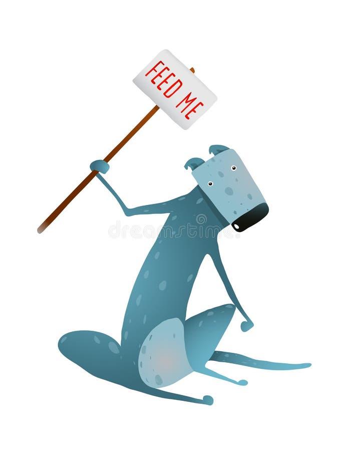 Hongerige Blauwe Magere Hond met Voer me Teken in Handen stock illustratie