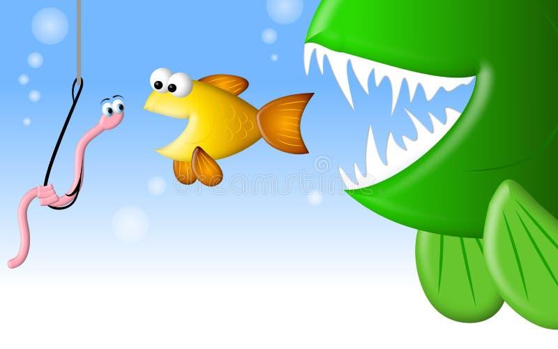Hongerige Vissen en de Worm stock illustratie