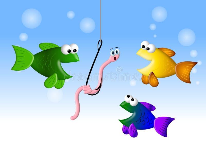 Hongerige Vissen en Worm 2 stock illustratie