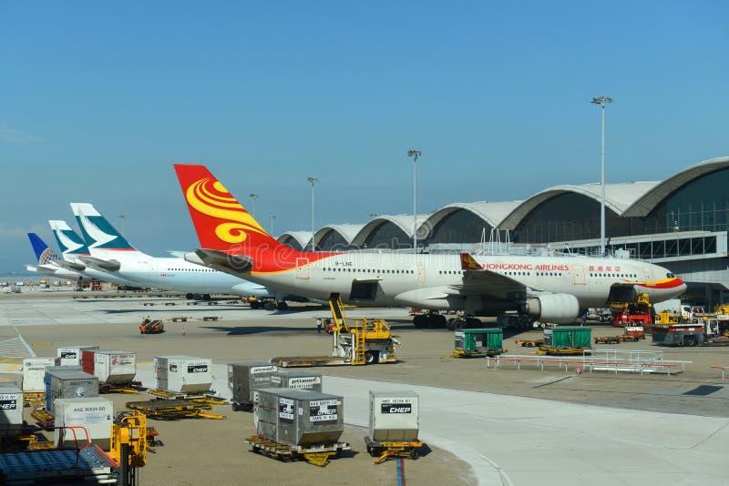 HongKong Airlines Airbus 330 at Hong Kong Airport royalty free stock image