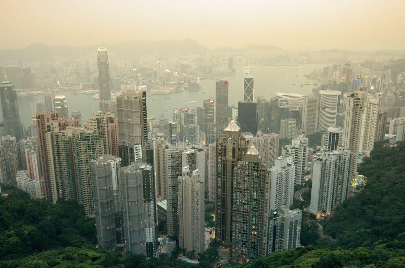 Hongkong bij Zonsondergang royalty-vrije stock afbeelding