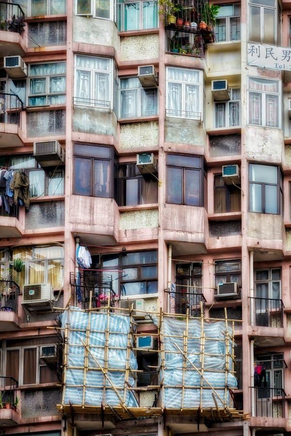 HONGKONG, CHINA/ASIA - 29 FEBRUARI: Oud Flatblok in Hong royalty-vrije stock foto's