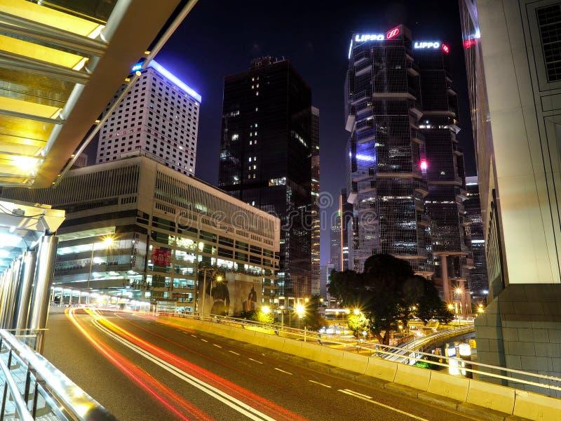 HONGKONG, CHINA - December 9 2016: Nachtverkeer in Hong Kong City stock fotografie