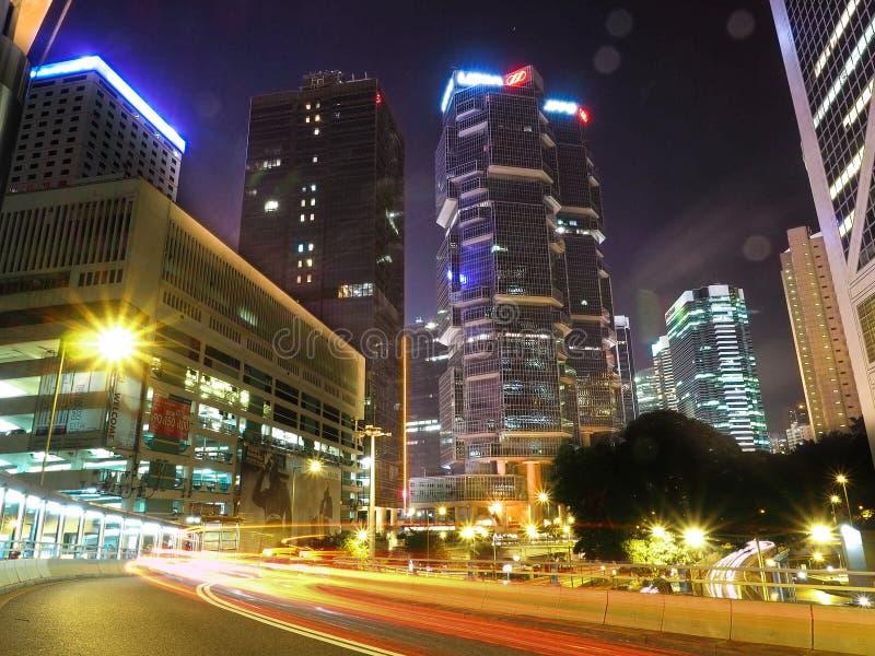 HONGKONG, CHINA - December 9 2016: Nachtverkeer in Hong Kong City stock foto's
