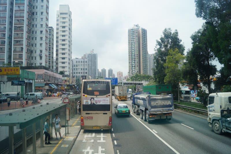 Hongkong, Chiny: Drogowy ruch drogowy obraz royalty free