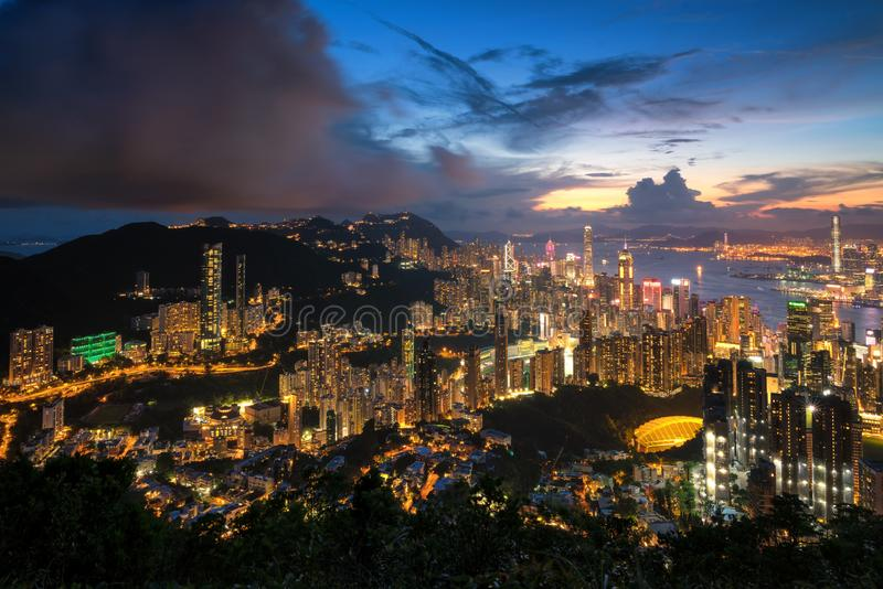 Hongkong cityscape from top view. Hongkong cityscape panorama after sunset stock images